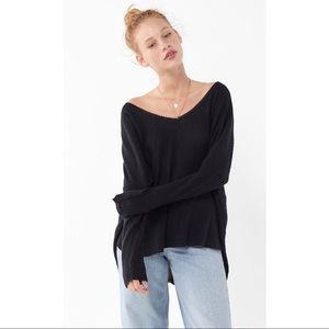 Urban Out from Under Oversized Thermal V Neck Top